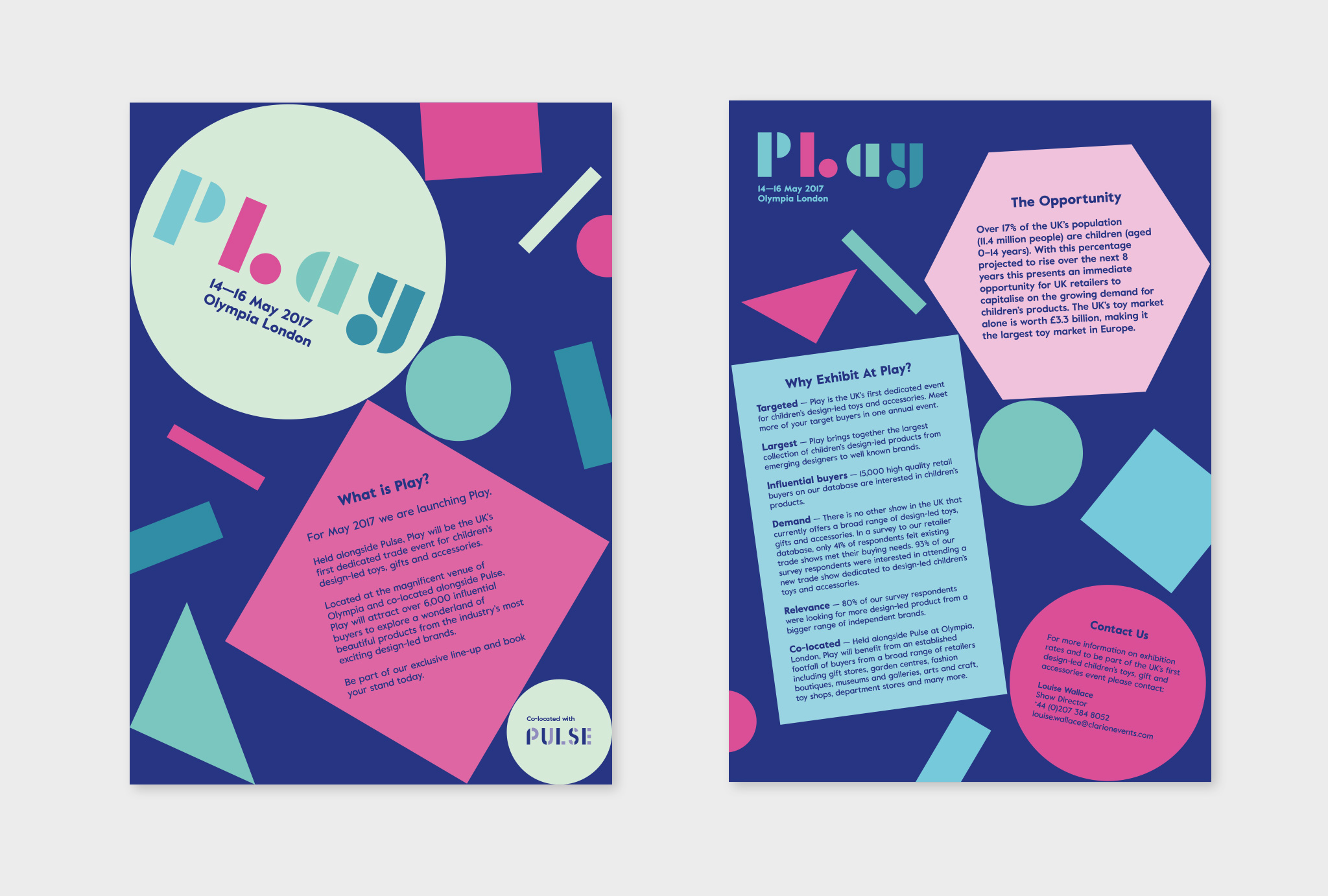 two leaflet designs with the 'Play' logo and some text surrounded by multi-coloured geometrical shapes