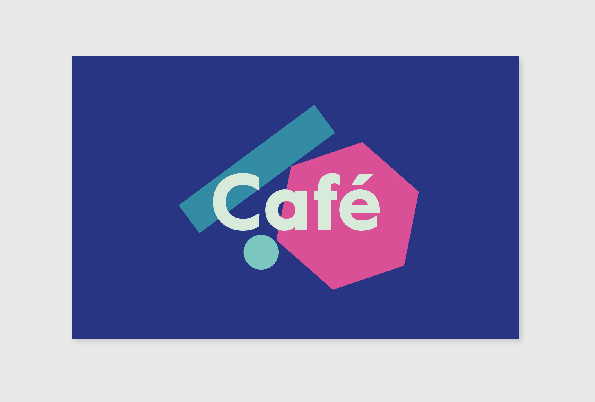 'Cafe' written in light green, in the background a blue circle, turquoise rectangle and a dark pink hexagon on a dark blue background