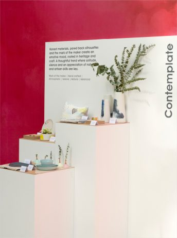 display plinths for a curated set of design products