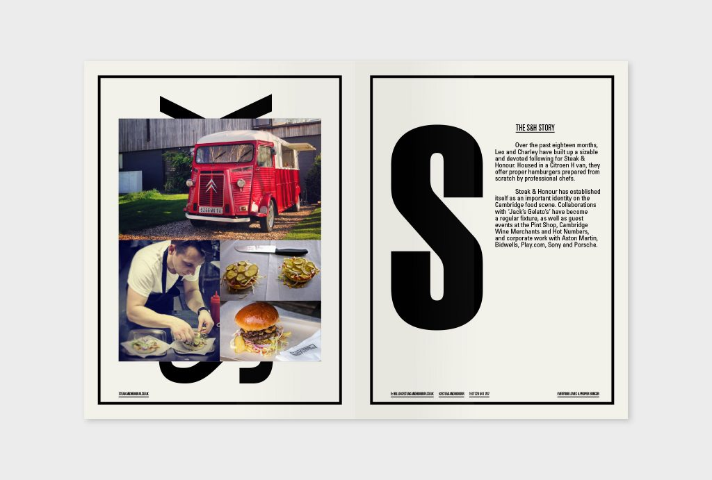 Layout design for sales brochure showing photograph of the S&H Citroën van