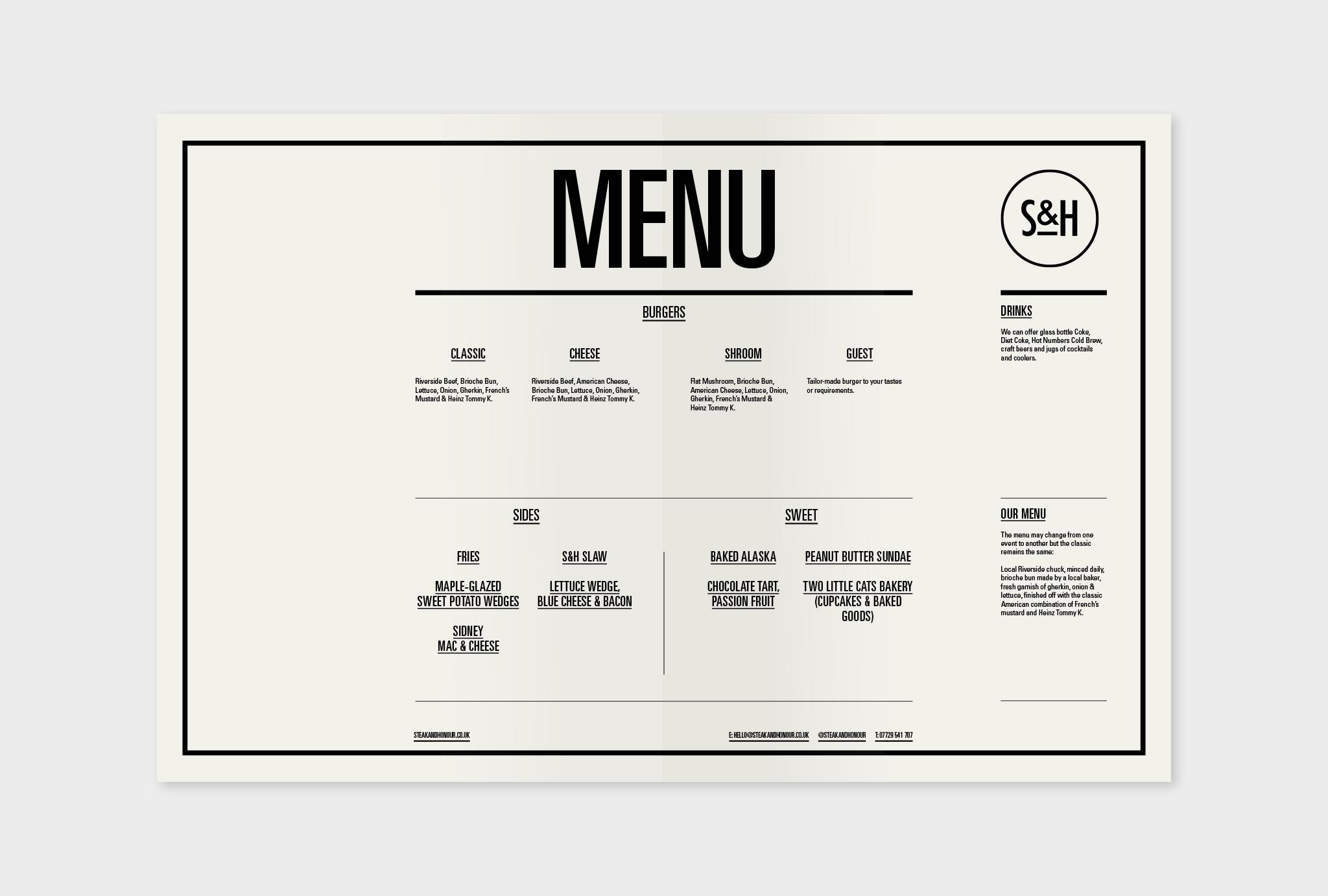 white menu card with black scripture