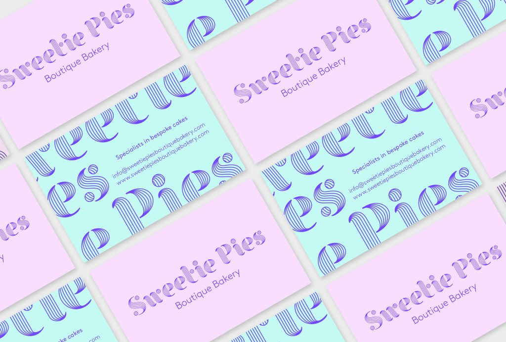business cards in lilac and turquoise with 'Sweetie Pies' logo and company contact details