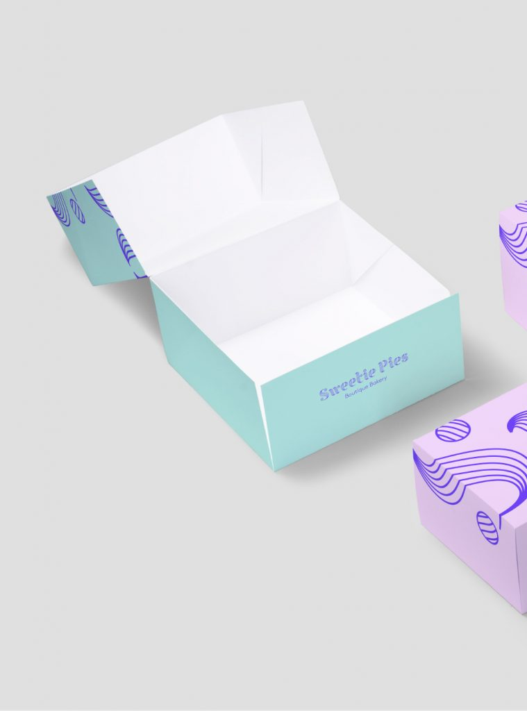 open box, outside turquoise and inside white, 'Sweetie Pies' written on the side