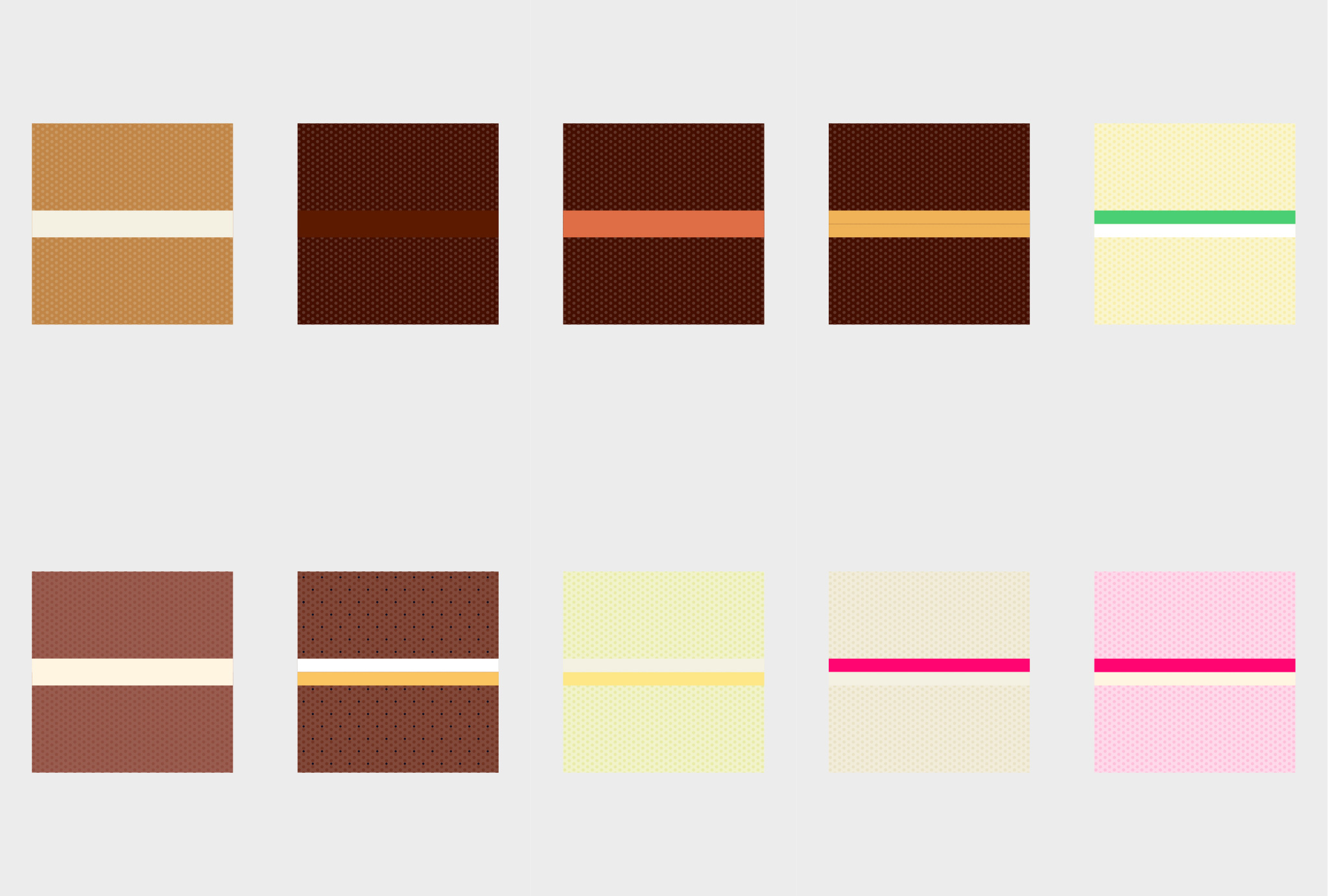 illustration of different cake flavours
