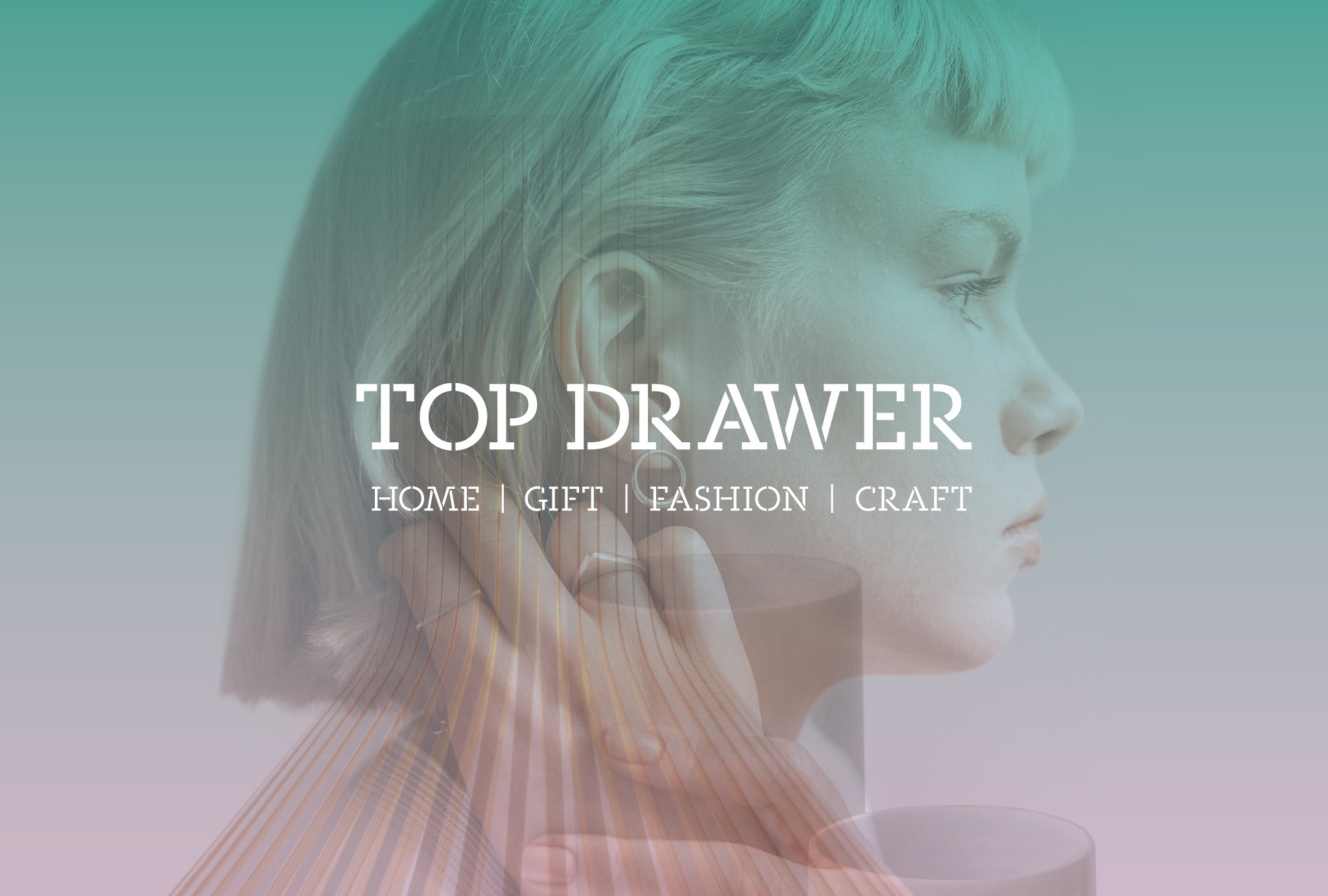 brand identity design for Top Drawer, profile of a woman's face with a colour fade layout from turquoise to pink