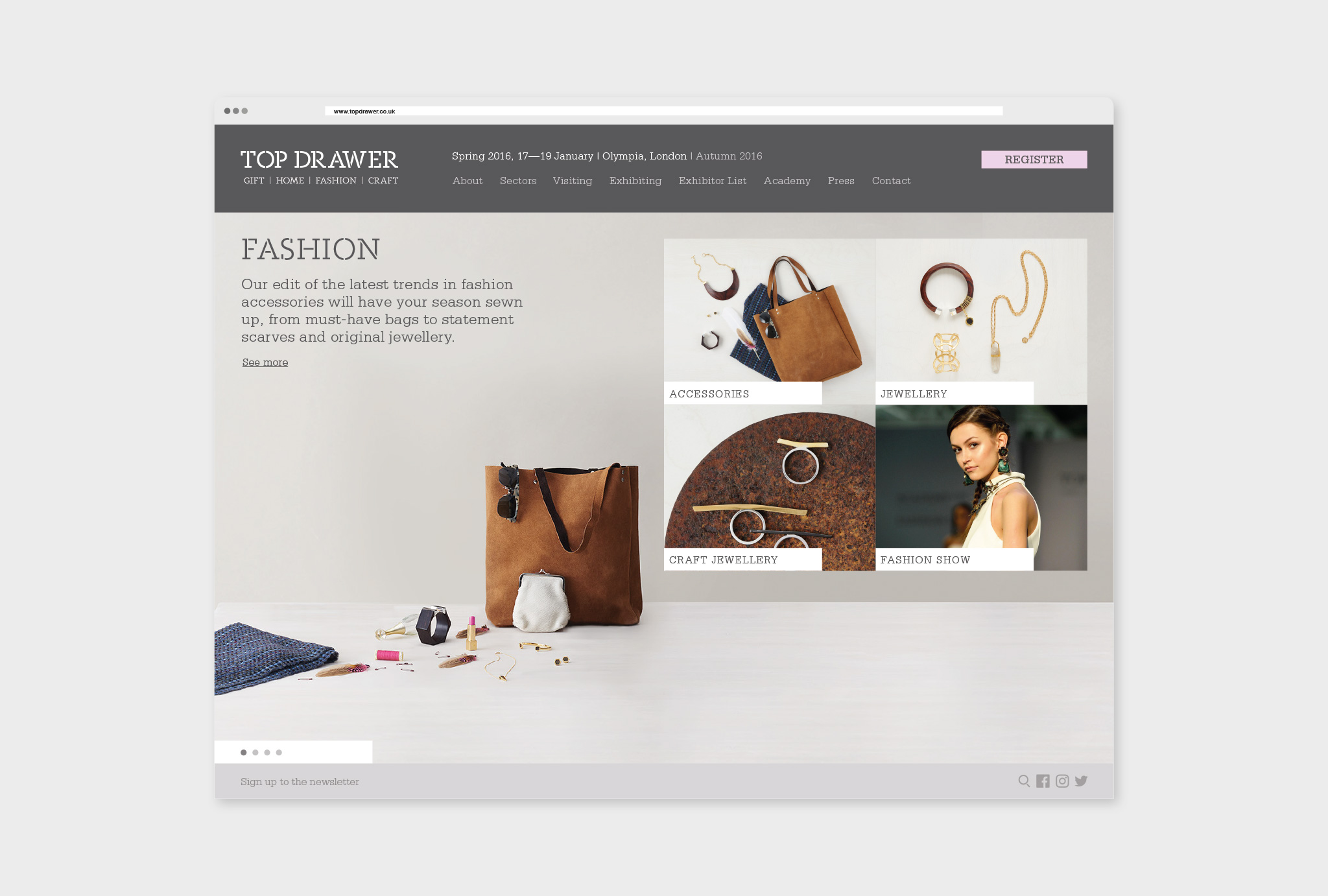 The Drawer Fashion selector website design