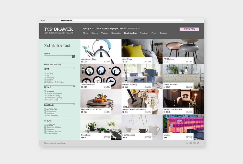 design of the website from Top Drawer Exhibitor List