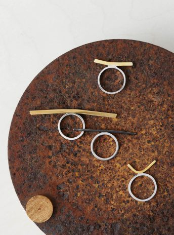 a rusted plate with four silver and gold rings