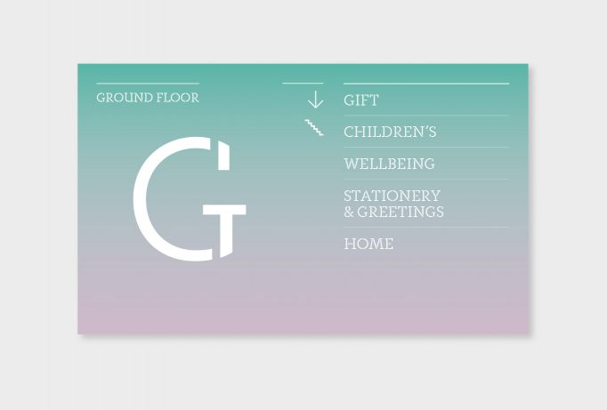design for directional signs for the Ground Floor