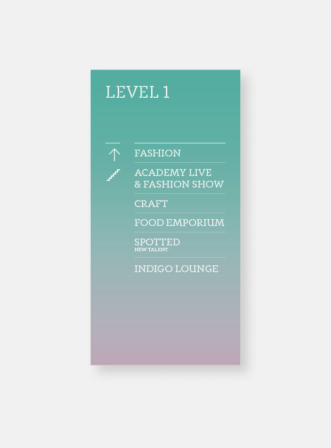 design for directional signs for the stairs at Level 1
