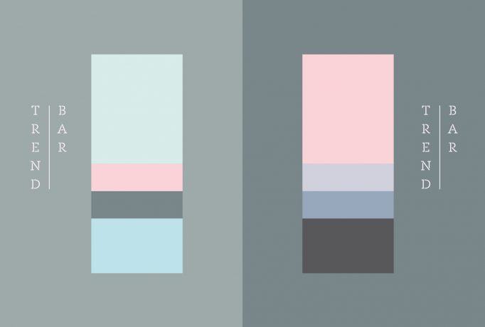 two bar trend designs in the colours turquoise, blue, pink and grey