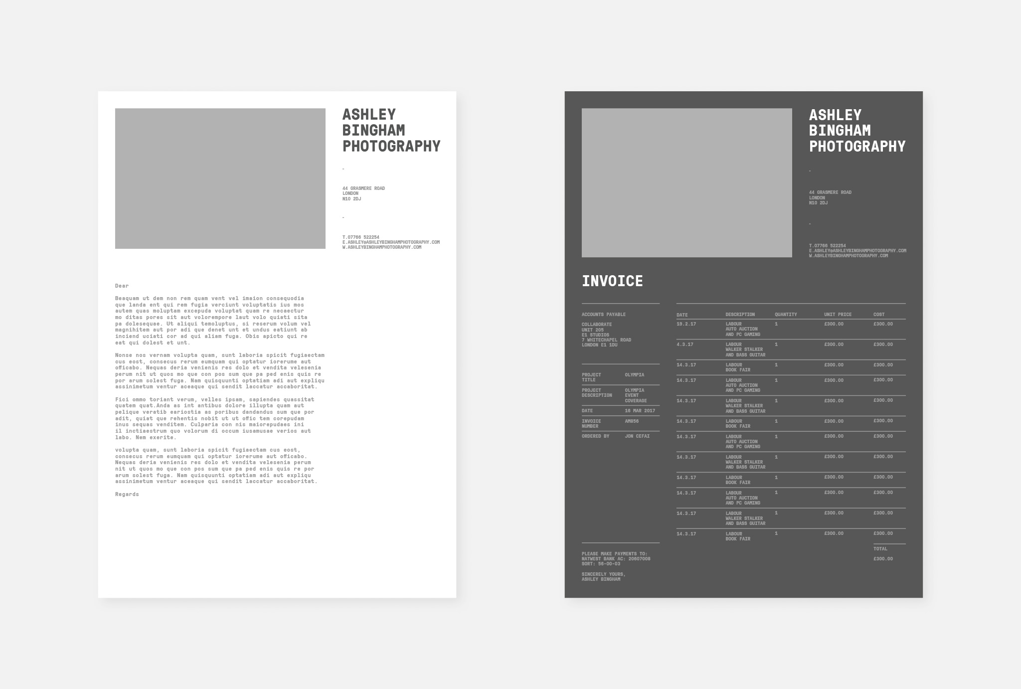 letter in white and invoice in dark grey with a light grey box