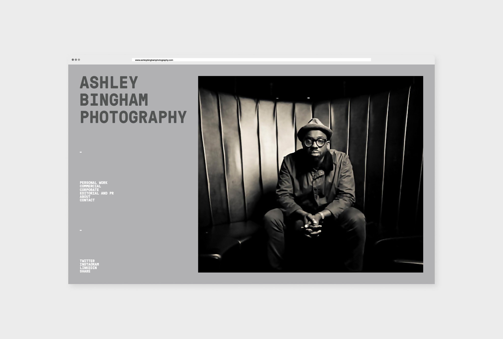 website design for 'ASHLEY BINGHAM PHOTOGRAPHY' in different grey shades