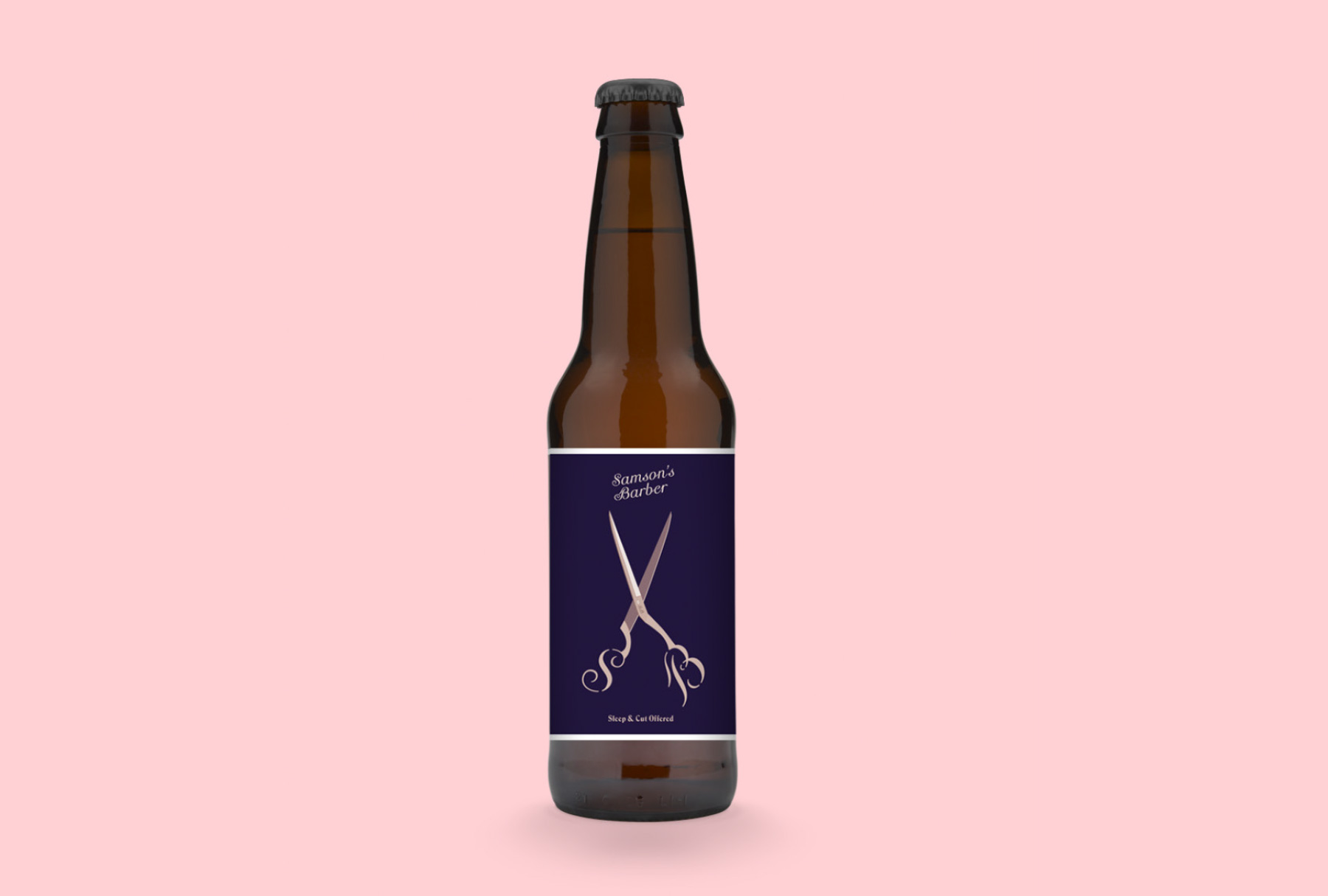 front view of a beer bottle with a dark violet label with a old-rose illustration of SB emblazoned pair of scissors