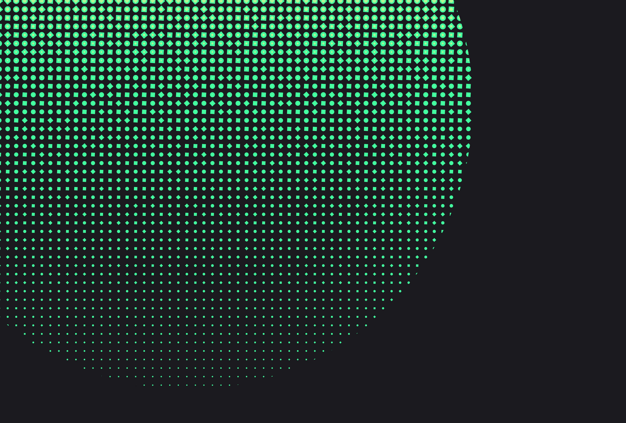 detail of twisted colour blend in green, fading out to the smallest dot size that can be printed on black background