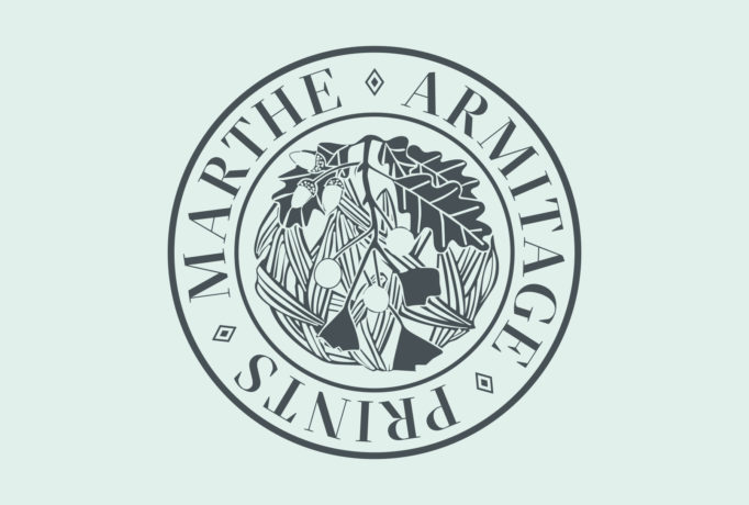 brand identity design, mint background with hand drawed design in a circle which is surrounded by the words 'MARTHE ARMITAGE PRINTS'