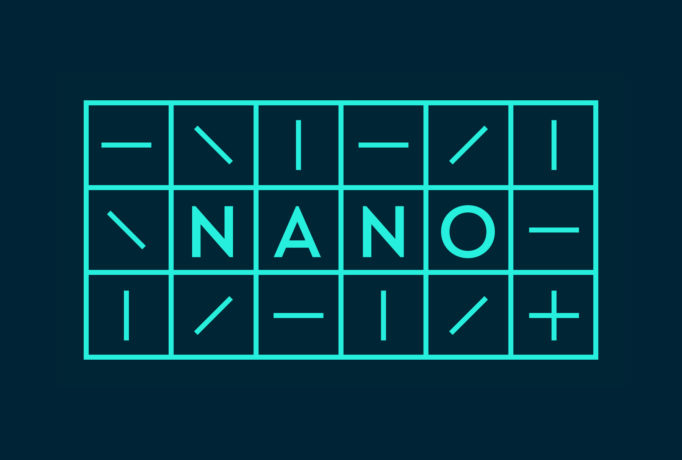 dark background with turquoise table 3x6 with 'NANO' written in boxes and lines in different directions