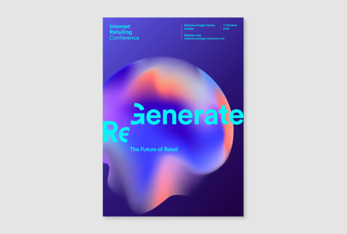 advertising campaign with a bubble in different colours, 'Regenerate the future of retail' written in turquoise in front