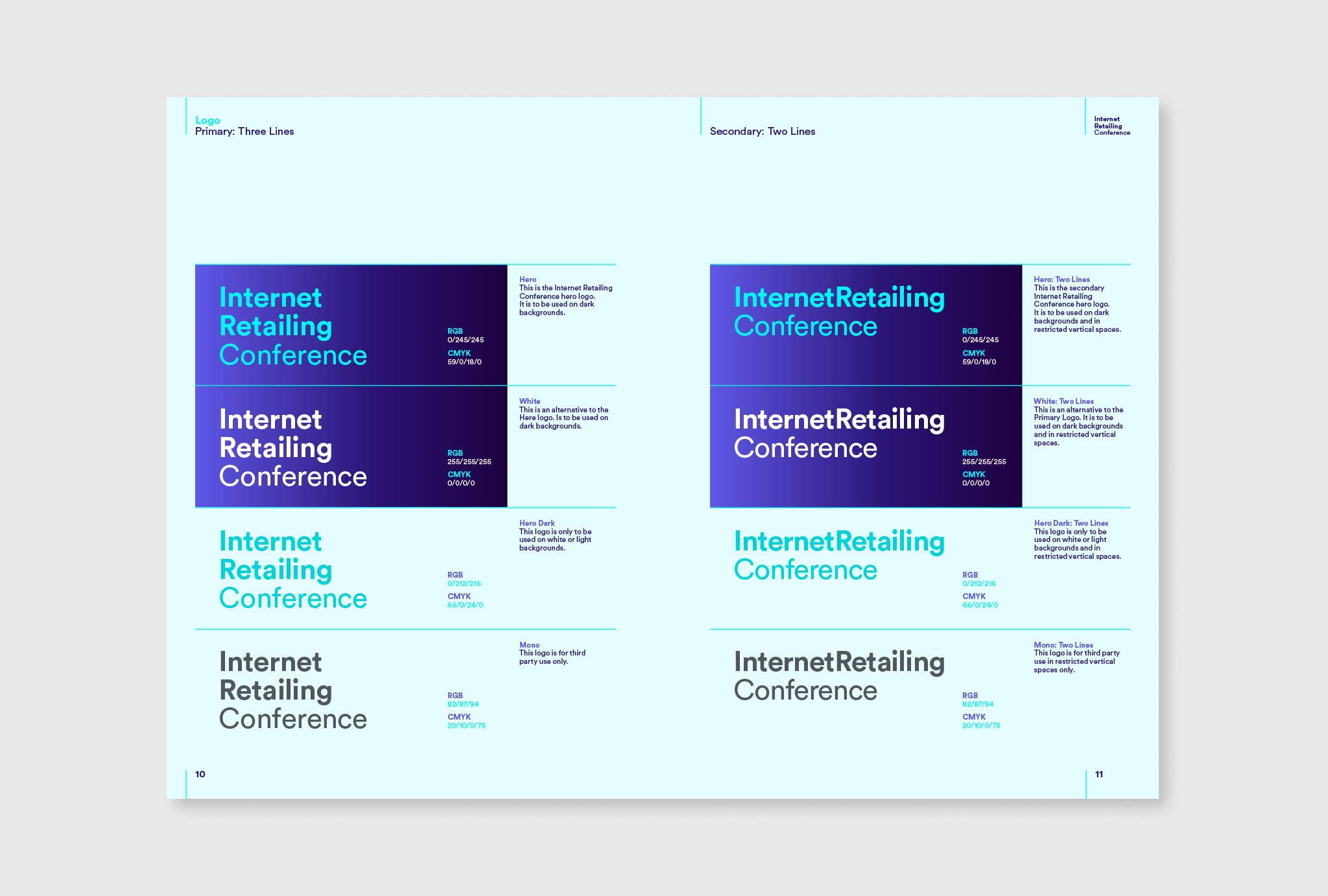 brand guidelines written in different colours