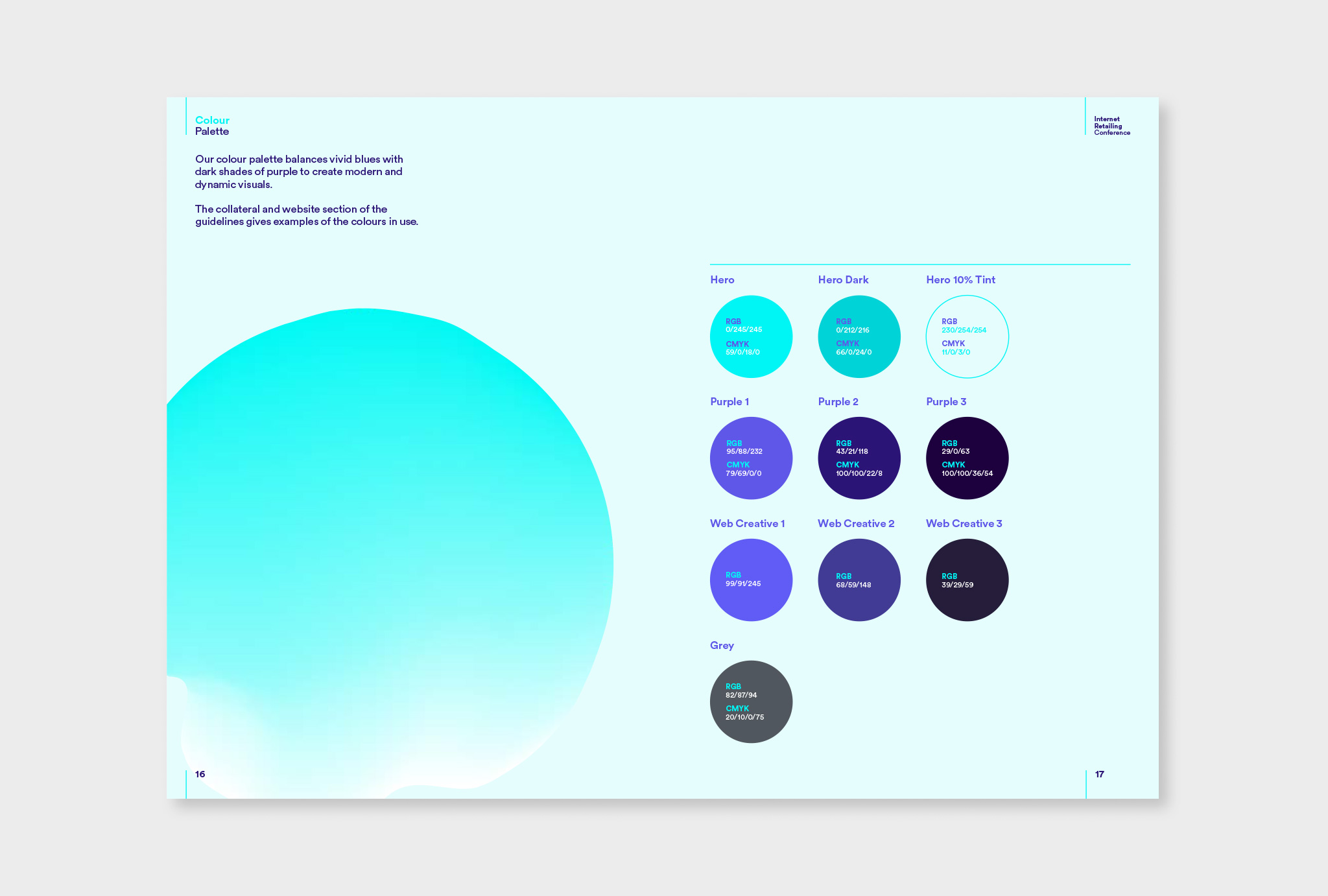 colour palette from light turquoise to dark blue