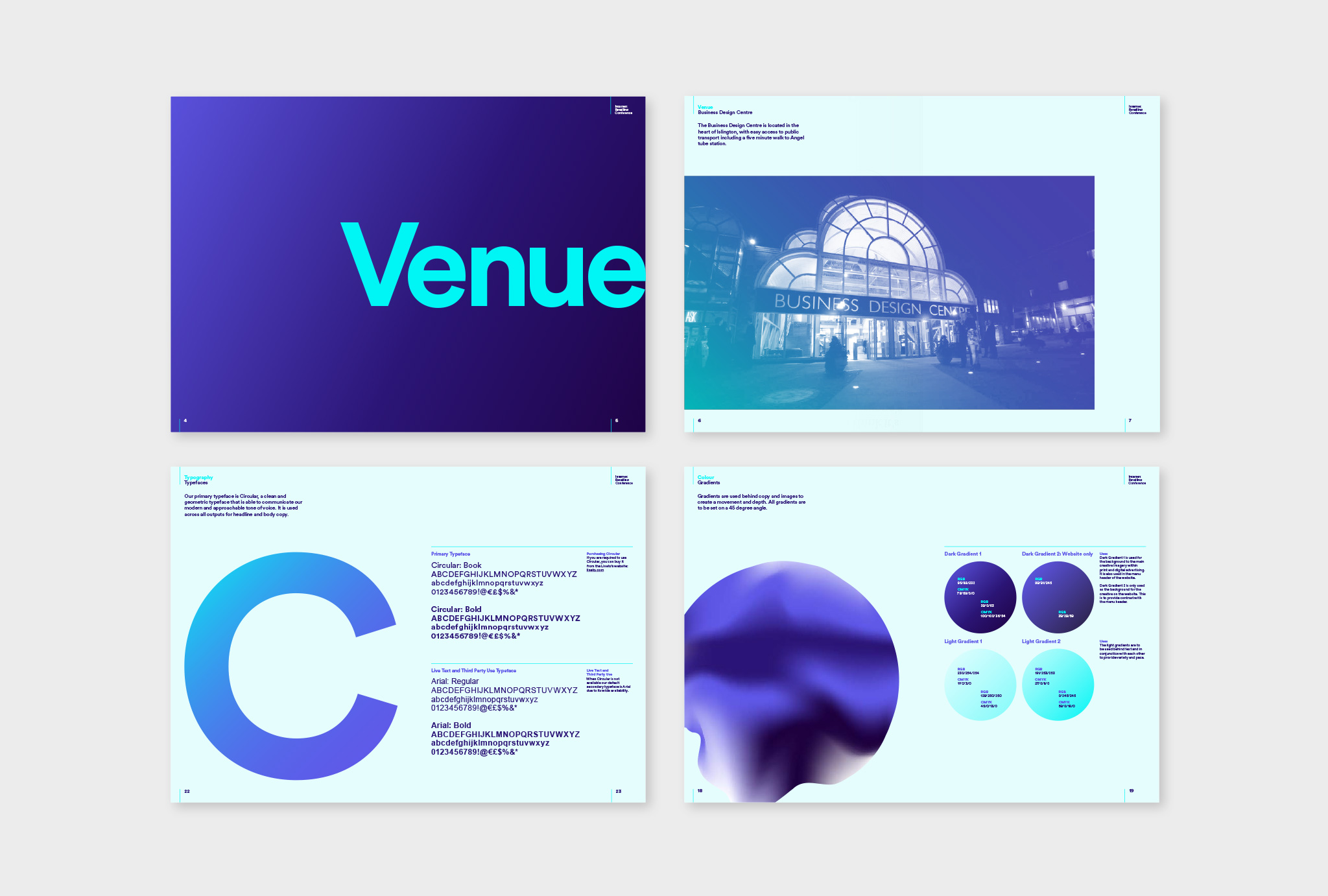 colour brand guidelines in turquoise and blue shades