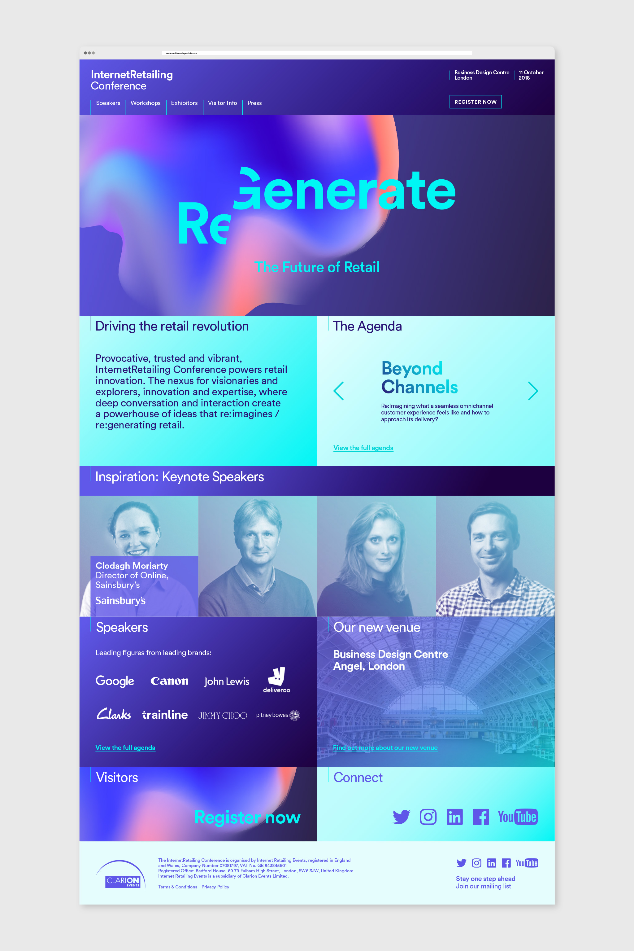homepage website design of Internet Retailing Conference