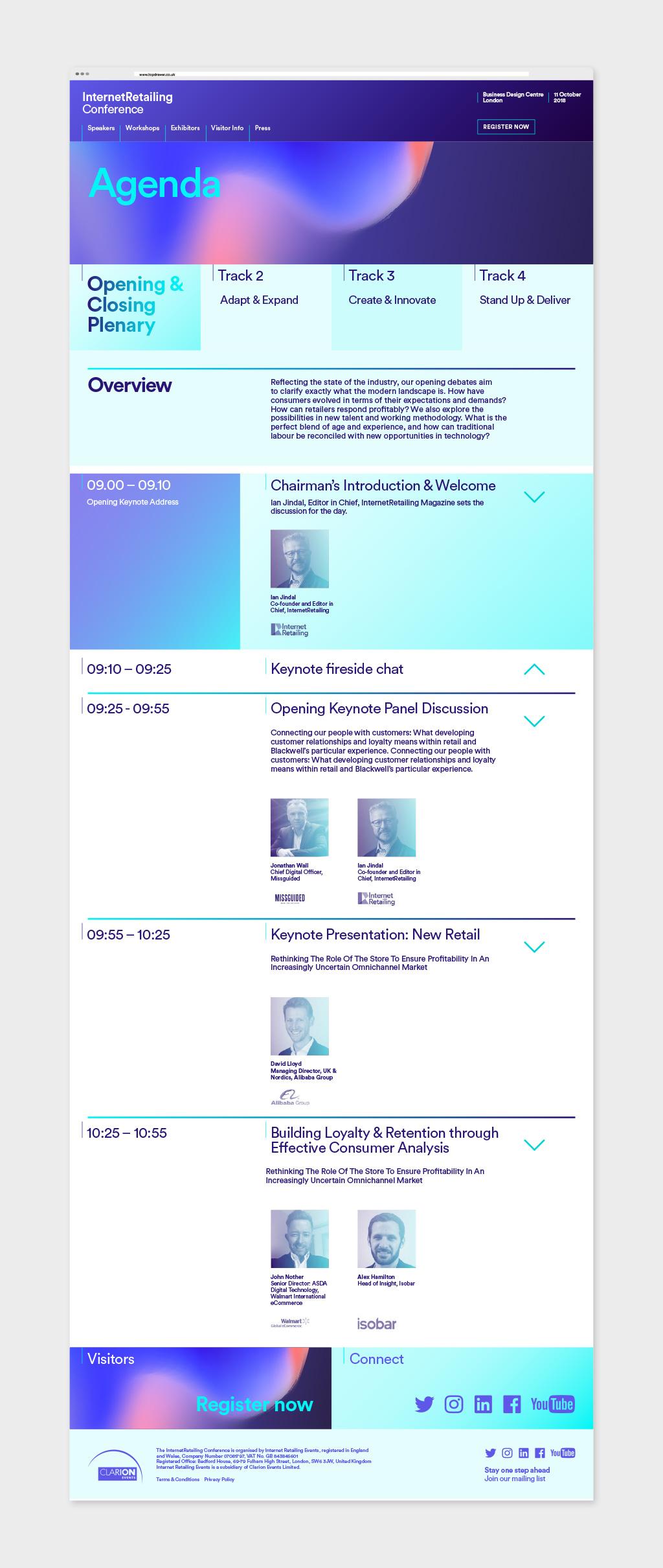 website design of the agenda