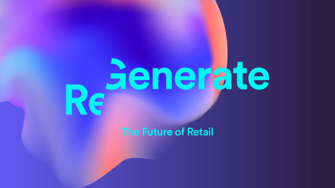 brand identity for 'Regenerate', big bubble in different colours in blue, violet and orange shades on a dark blue background