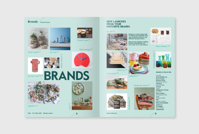light turquoise pages of the magazine with different brands