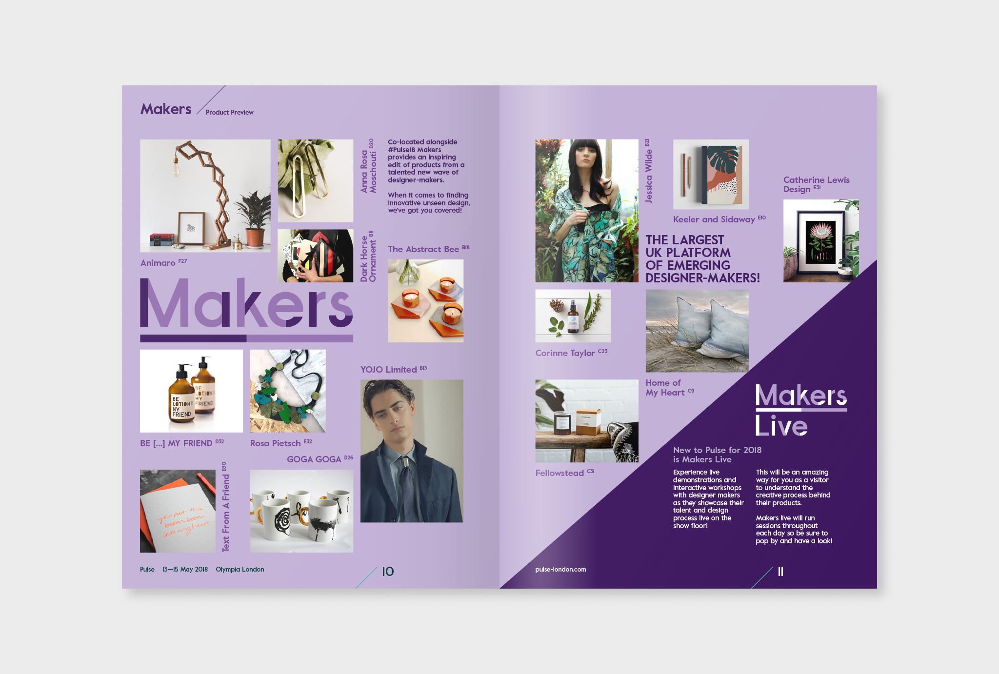 light violet pages of the magazine showing brands from the Makers sector of the show